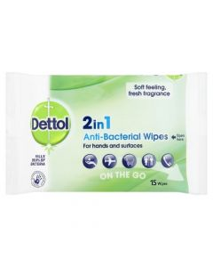 Dettol 2 in 1 Anti Bacterial Wipes -Hands and Surface (Pack of 15 Wipes)