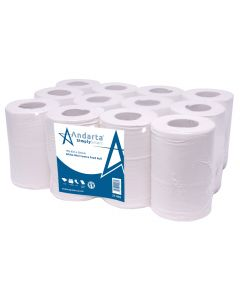 2Ply White Mini Centre Feed Roll (Pack 12)