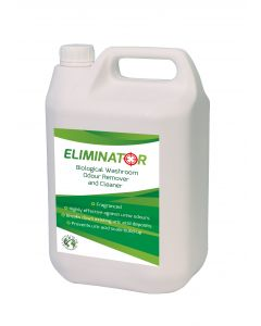 Eliminator Biological Washroom Odour Remover and Cleaner Label