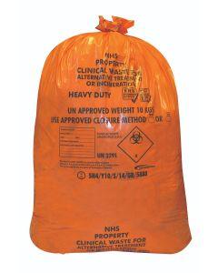 Orange Clinical Waste Sack Roll 25 28x29 (1x Roll of 25 Sacks)