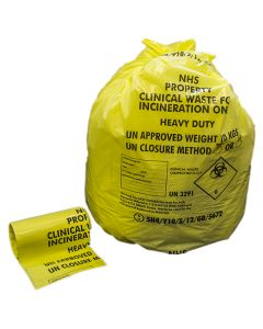 Yellow Medium Duty Clinical Waste Sack Roll 11x17x26 (1x Roll of 50)