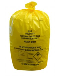 Yellow Heavy Duty Clinical Waste Sack Roll 11x17x26 (8x25)