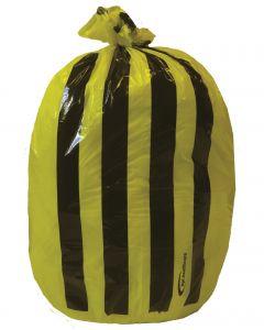 9x17x26 25mu Yellow Tiger Stripe Sack on Roll