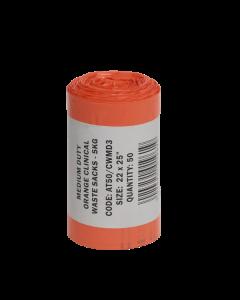 Orange Medium Duty Clinical Waste Sack Roll 50 14x22x25 (1x Roll of 50 Sacks)