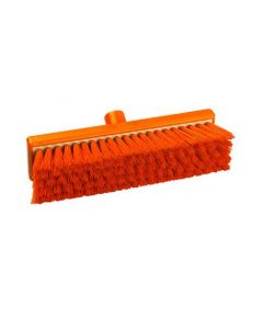 "12"" Medium Bristle Flat Sweeping Broom Resin Set Orange"