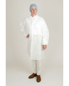 Mellobase Lab Coat Velcro Fastening Elasticated Sleeve (White) (Pack 100)
