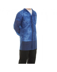 Non Woven Visitors Coats Blue With Blue Poppers