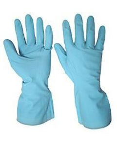 Rubber Gloves M/W Blue Medium (12 Pairs)