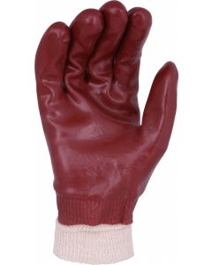 Red PVC F/c Knit Wrist Gloves Size 10 (12 Pairs)