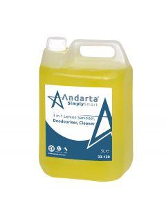 Andarta 3 in 1 Lemon Sanitiser Deodouriser Cleaner (5Ltr)