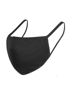 2 Ply Anti-Bacterial Cotton and Polyester Mask with Elastic Ear Loops - Black