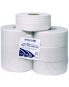 Andarta 2Ply 250m 76mm Core Midi Jumbo Toilet Roll (76mm core size)