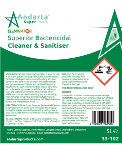 Andarta Superior Bactericidal Cleaner and Sanitiser Label