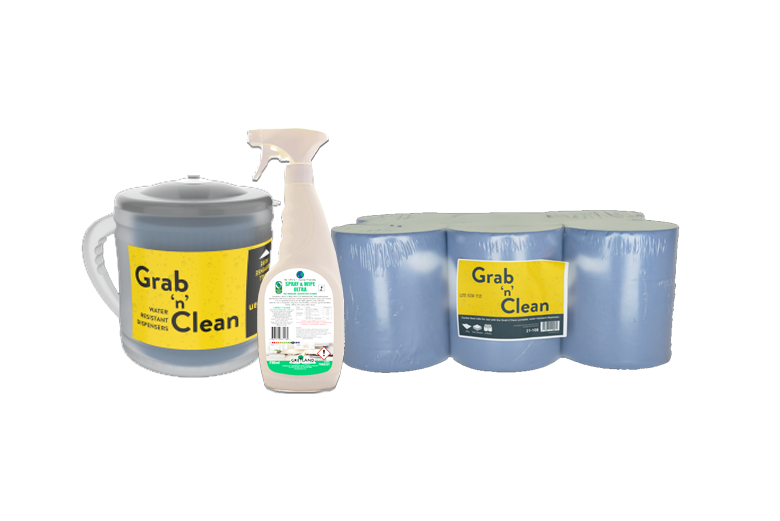 Grab & Clean Dispenser with Blue Centrefeed Roll & Andarta Antiviral Disnfectant