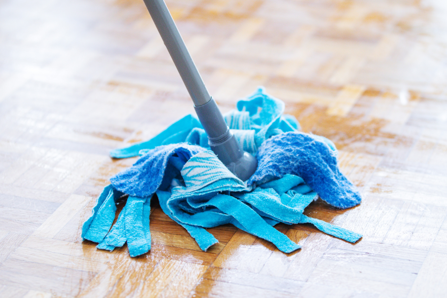 Someone using a blue mop head to mop the floor