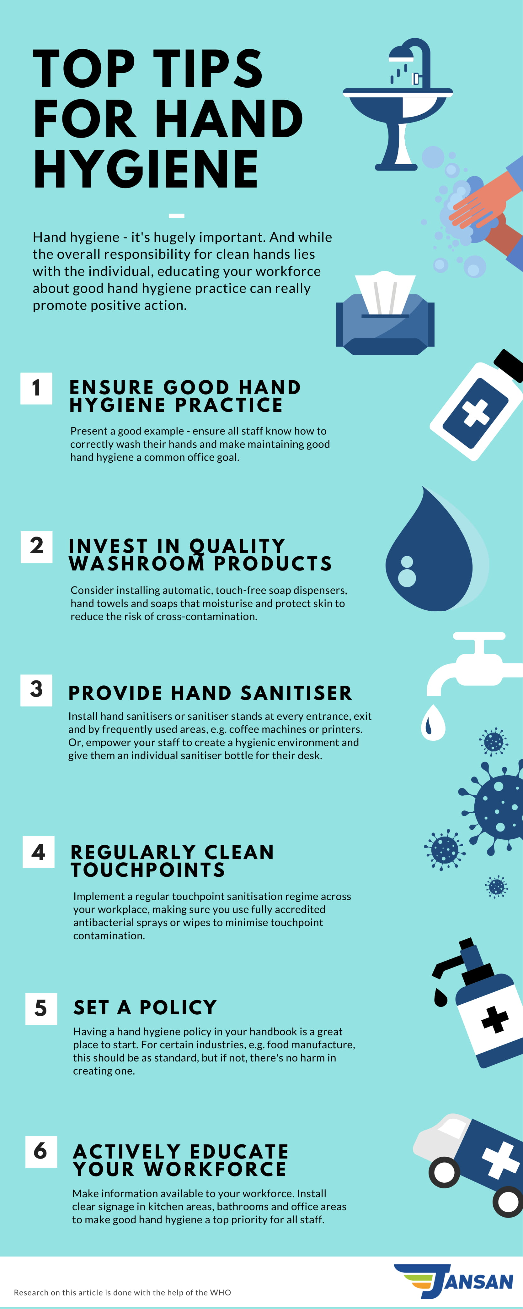 Top tips for hand hygiene in the workplace infographic